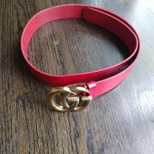 Accessories - Red leather belt
